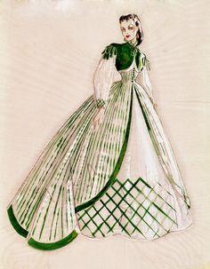 Walter Plunkett's original sketch for Scarlett's green striped dress