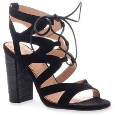 Madeline Black Brunette Sandals - Women's ($59) ❤ liked on Polyvore featuring shoes, sandals, black, black high heel shoes, laced sandals, black sandals, lace up sandals and strappy sandals