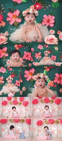 I like the teal green background with the pink flowers! Really pops Toddler Photography, Photography Props, Girl Photography, Newborn Photography, First Birthday Photography, 1st Birthday Photos, Foto Fun, 1st Birthday Cake Smash, Toddler Photos