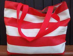 Summer bag Extra large bag Borsa spiaggia Borsa estiva Borsa mare a righe bianche e rosse con interno in lino Made in Italy Fatto a mano di LoomaHandmade su Etsy