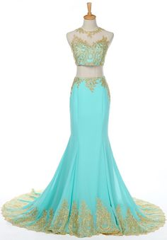 Lace Appliquéd Floor Length Two Piece Mermaid Prom Dress Featuring Halter Illusion Cropped Bodice