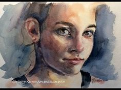 (671) Watercolor portrait sketch EXTENDED long version by Ch.Karron - YouTube