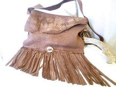 Arikash  elk leather purse  boho fringe bag  antler by ulantia, $324.00 #ulantia #leatherbag #leather #purse #boho #fringe #antler #elk #brown #handbag #handmade