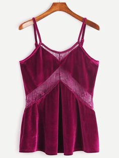 10$  Watch here - http://diy0y.justgood.pw/go.php?t=12131 - Burgundy Spaghetti Strap Lace Insert Velvet Cami Top