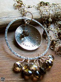 The Long Silver Chain DARE TO SHINE Affirmation Necklace With Smokey Quartz Stones