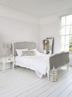 """Lovely Willows White Scroll Bed. Hand painted and finished in soft grey linen fabric with double piping. Double (4' 6"""") £2,000"""