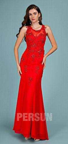48e1caf7bbf8a Robe de soirée rouge sirène encolure illusion appliquée de guipure florale