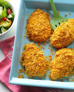 How do you get so much flavor out of a five-ingredient-or-fewer recipe? Ranch dressing is the key! Enjoy this simple dish on busy weeknights or with company for special occasions. | Crumb-Coated Ranch Chicken Recipe from Taste of Home