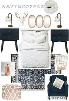 Beautiful trendy copper gold rose chic bedroom blue navy pops of color decor creek villas 1 Blue And Gold Bedroom, Navy Blue Bedrooms, Gold Bedroom Decor, Navy Copper Bedroom, Bedroom Ideas, Navy Blue Bedding, Quirky Bedroom, Budget Bedroom, Bedroom Images