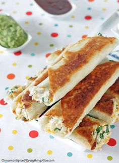 Cheese Chicken Spinach Taquitos by CinnamonSpiceandeverythingnice.com