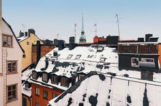 Amazing Attic Apartment to Live In: Incredible Snowy Attic With A View Of The Rooftops Found In Clea White Snow Dark Roof And Brown Painted ...