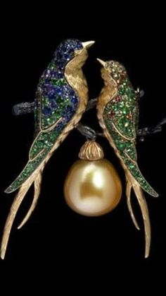 Mousson Atelier- Lovebirds Brooch from the Eden Collection - Black Gold, Yellow Gold, Baroque Pearl, Multicolored Sapphires, Tsavorites ID: Brs0228-0/2 •9,863 USD