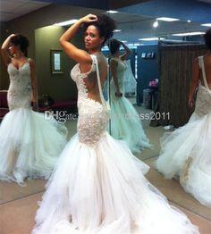 Whole Mermaid Wedding Dresses 2017 Real Image Galia Lahav Spaghetti Bridal