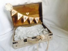 Shabby chic Wedding Card Holder Suitcase by ChiKaPea on Etsy