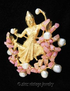Vintage Swoboda Unsigned Asian Lady Dancer Pearl Pink Quartz Stone Pin Brooch  | eBay