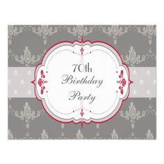 Elegant Grey & Red Roses 70th Birthday Custom Invites