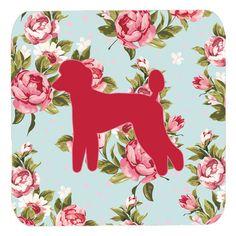 Set of 4 Poodle Shabby Chic Blue Roses Foam Coasters