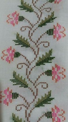 Designs in Machine Embroidery - Stitch Swag - Cozy Dog Suites - Embroidery Design Guide Cross Stitch Rose, Cross Stitch Borders, Cross Stitch Flowers, Cross Stitch Designs, Cross Stitching, Cross Stitch Patterns, Embroidery Needles, Cross Stitch Embroidery, Embroidery Patterns