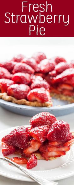 Fresh Strawberry Pie Fresh strawberry pie is a once-a-year summer treat! This easy strawberry pie is made with low-sugar pectin and cornstarch and a buttery crust. Serve the strawberry pie immediately. Fun Easy Recipes, Simply Recipes, Popular Recipes, Easy Meals, Delicious Desserts, Dessert Recipes, Yummy Food, Pie Recipes, Cooking Recipes