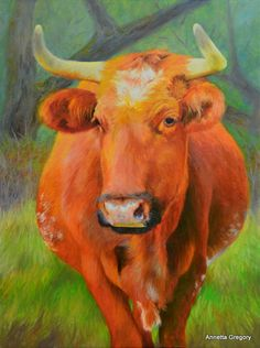"Ol' Red is a 18""x24"" oil on canvas by Annetta Gregory."
