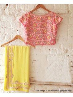 Rimzim Enterprise - Designer Yellow Georgette Partywear Saree with Un-stitch blouse