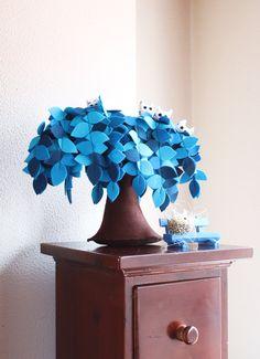 Blue Weeping willow,  Felt Tree,  Decoration, Children room, Housewarming gift.