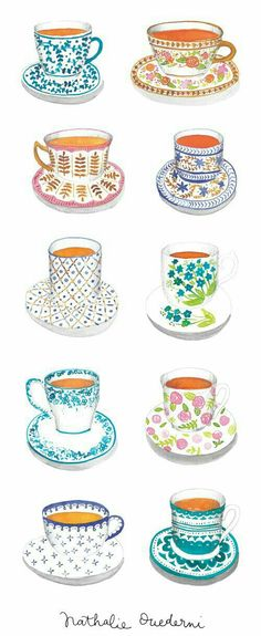 Tea cups watercolor illustrations Tea cups illustrations for an article of Mr Wonderful Ideas magazine, a new publication filled with tips, travel ideas, fashion and music to daydream. Tea Illustration, Watercolor Illustration, Watercolor Paintings, Watercolor Artists, Abstract Paintings, Oil Paintings, Painting Art, Landscape Paintings, Magazine Illustration