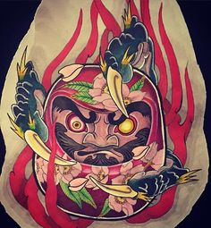 drawing for guest 다루마… Japanese Tattoo Art, Japanese Tattoo Designs, Daruma Doll Tattoo, Samurai Warrior Tattoo, Japan Tattoo Design, Body Art Tattoos, Sleeve Tattoos, Asian Tattoos, Oriental Tattoo