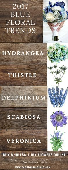 2017 blue wedding flower trends! www.fabulousflorals.com The DIY Bride's #1…