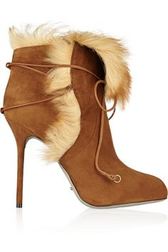 So nice I had to pin them twice. Sergio Rossi Shearling-lined suede platform ankle boots