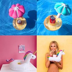 Mini Inflatable Unicorn Floating Cup Holder Pool Drink Holders Swim Ring Water Toys Party Beverage Boats Holder Pool Toys