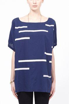 UZI Broken Stripe Kimono Top - USA made, cotton