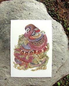 Quilted Forest The Owl // 5x7 Art Print  Forest by Polanshek, $15.00