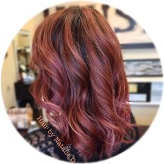 Rose gold hair color by Natalie D. Balayage highlights