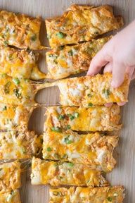 Cheesy Buffalo Chicken Pizza Sticks | Make this in mini bite-sized pieces and you have a tasty appetizer.