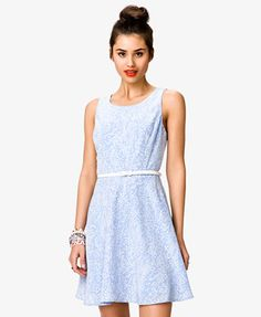 Spotted A-Line Dress w/ Belt | FOREVER 21 - 2027704349  Perfect sky blue for bridesmaid dress
