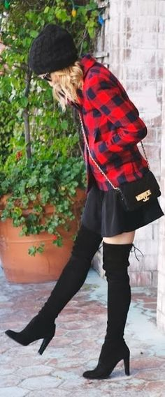 How to Chic: PLAID JACKET - OVER THE KNEE BOOTS - KNIT BEANIE