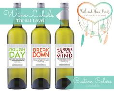 DIGITAL File ONLY Set of 3 Threat Level Wine Labels by FeatheredHeartPrints, Cheer up wine labels Rough Day, Break Down, and Murder on my Mind.