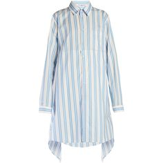 Balenciaga Fold-back striped cotton-poplin shirtdress (40,370 PHP) ❤ liked on Polyvore featuring dresses, balenciaga, blue stripe, blue dress, striped dresses, shirt dresses and striped shirt dress
