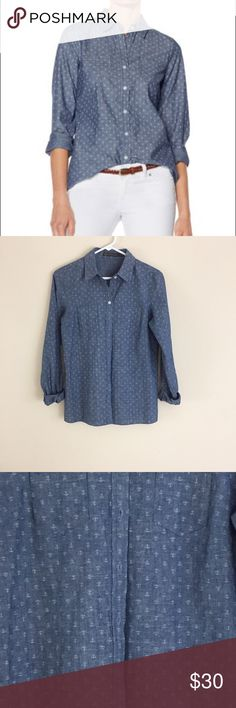 """Outback Red anchor print Chambray button down Outback Red anchor print dark chambray. Like new. Size Small, could fit Medium. 18.5"""" pit to pit and 26"""" long. Outback Red Tops Button Down Shirts"""