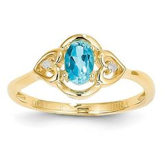14k Light Swiss Blue Topaz Diamond Ring XBR357