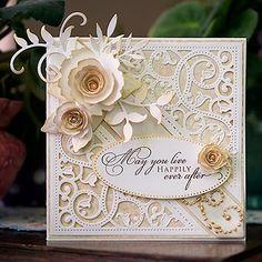 New Wedding Card Scrapbook Sweets 27 Ideas Wedding Day Cards, Wedding Cards Handmade, Beautiful Handmade Cards, Wedding Card Design, 50th Anniversary Cards, Golden Wedding Anniversary, Envelopes, Spellbinders Cards, Engagement Cards
