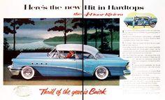1955 Buick Century Riviera Sedan vintage ad. Here's the new hit in 4-door hardtops. Sleek and racy look of a convertible with no center door posts.
