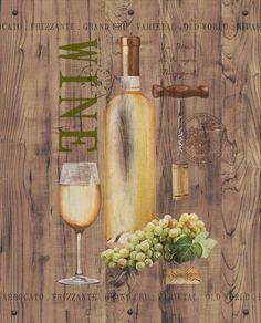 Anastasia Ricci White Wine on Reclaimed Wood Fertig Bild Wandbild Wein