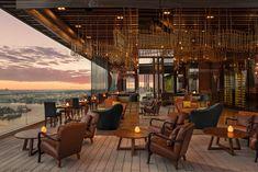 Rustic Restaurant Interior, Rooftop Design, Honeymoon Hotels, Rooftop Restaurant, Hotel Interiors, Top Interior Designers, Farmhouse Design, Hotels And Resorts, Exterior Design
