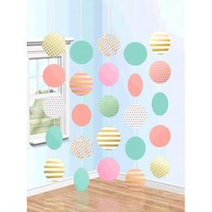 Pastel Hanging Circle Decorations (5 strings) - Birthday Direct Hanging Decorations, Door Curtains, Doorway, Metallic Gold, Circles, Party Supplies, Backdrops, Count, Pastel