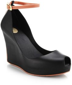 Melissa Patchul Ankle-Strap Wedge Pumps