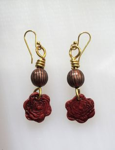 Polymer Clay Rose and Gold Brass Wire Wrap by SarahsArtisanJewelry, $10.00