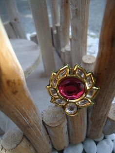 Kundan Ring with Oval Red Stone by SonaliDesigns on Etsy, $45.00