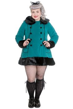 HELL BUNNY Sarah Jane Coat *8016 TEAL   | Plussize | Sale |